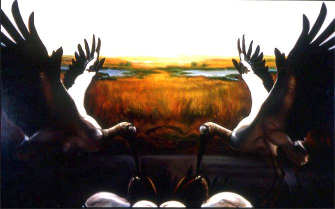 """Double Bird Feeding    Oil on panel  12"""" x 24""""  1992"""