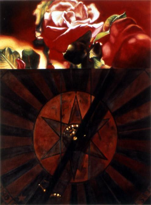 "Atomic Rose    Oil on panel  19"" x 12""  1994"
