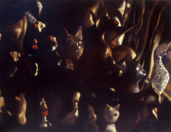 """Cats    Oil on panel  11"""" x 14""""  1994"""