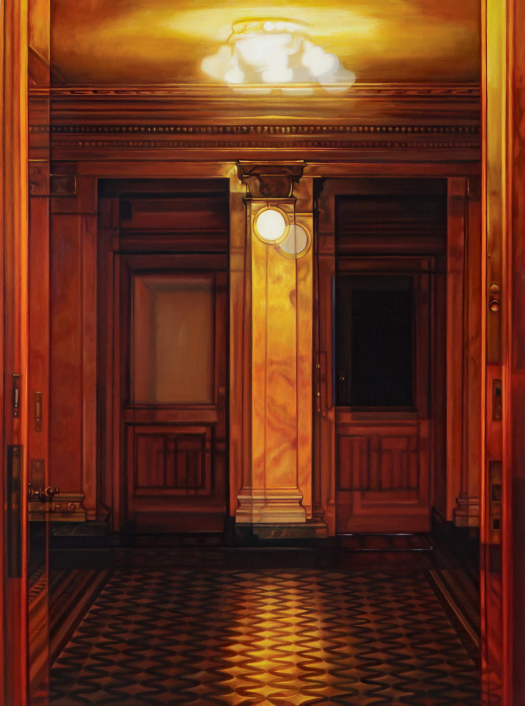 "Double Doors      Oil on hardwood panel, 40"" x 30, 2018"