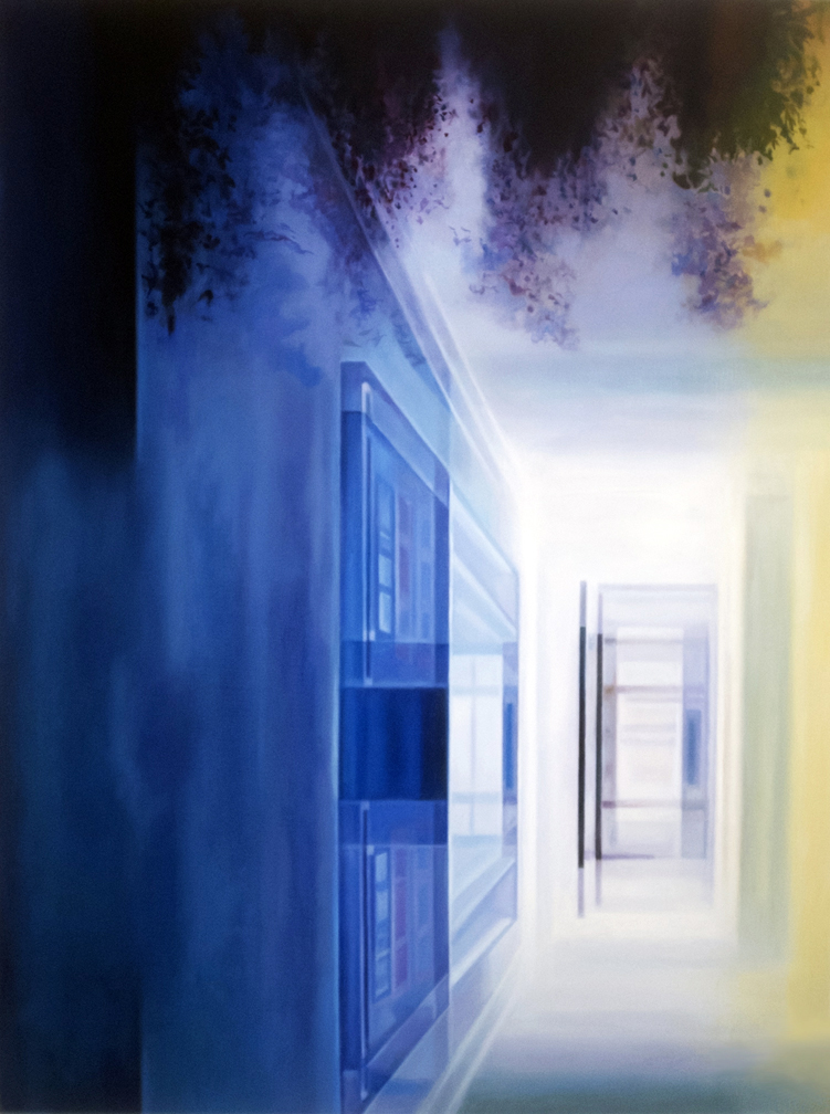 "Blue Funnel    Oil on hardwood panel  24"" x 18""  2018"