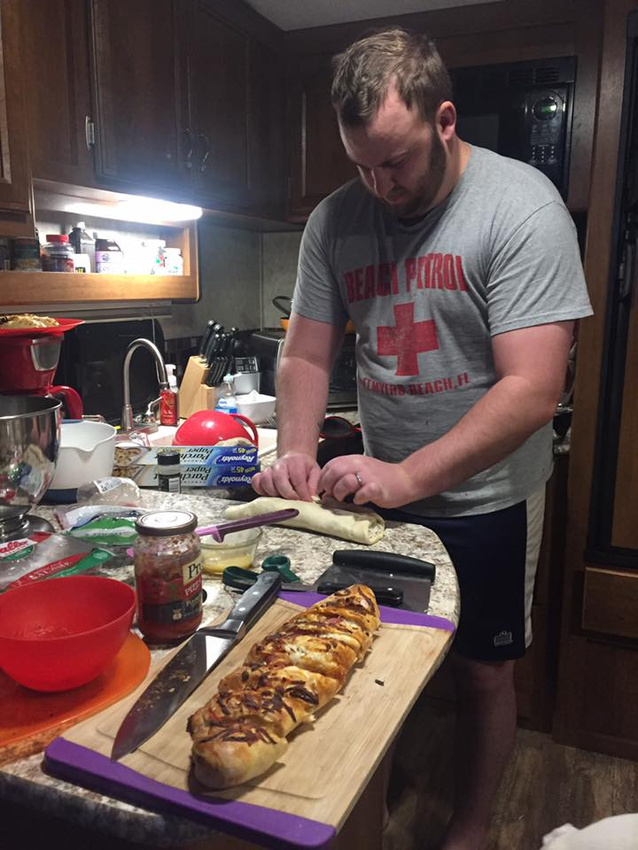 Evan always loves to cook. I recently learned how to make a pretty mean pizza dough from this blog post I found on pinterest! http://www.laurenslatest.com/how-to-make-stromboli/ You should definitely try it!