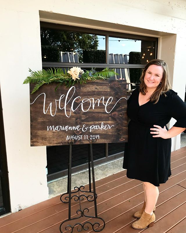 I don't usually take pictures with my #signage but when I do, I make my husband take them. 😂 . . . Loved getting to celebrate Parker and Marianna tonight! . . #wedding #realwedding #weddingsign #love #southernwedding #southernbrideandgroom #raleigh #raleighnc #raleighwedding #woodensign #welcomesign #iloveweddings #iloveweddingdetails #justmarried