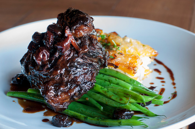 Braised beef short ribs with French green beans and butternut squash gratin. | Photo Credit: JOEFF DAVIS