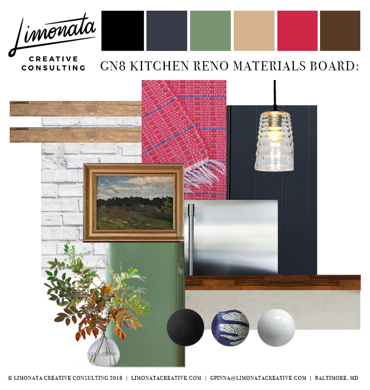 Materials I wanted to utilize: Reclaimed wood, indigo wainscoting, light gray granite, handwoven cranberry textiles, mahogany floors, matte black hardware, glossy ceramic hardware, hand blown glass, blue speckled accents, glossy sage accents, stainless steel, natural foliage & landscape artwork.