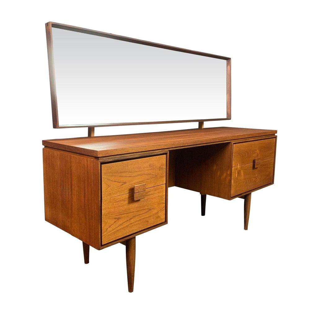 Vintage Danish Mid Century Modern Teak Vanity Desk By Kofod Larsen For G Plan Aymerick Modern