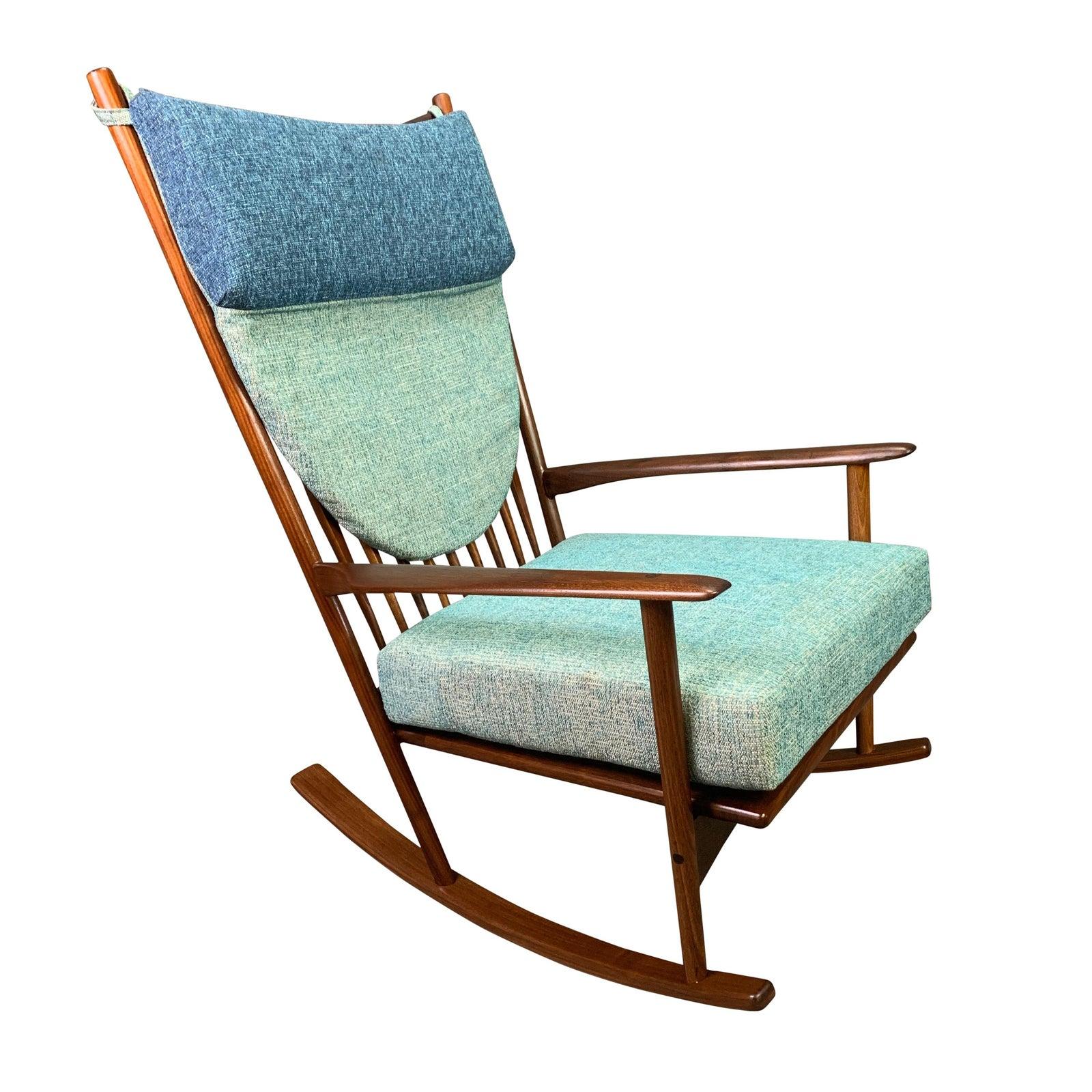 Vintage Danish Mid Century Modern Walnut Rocking Chair