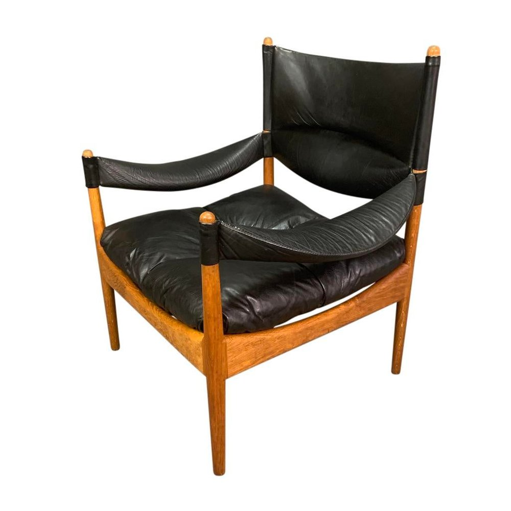 Vintage Danish Mid Century Modern Modus Lounge Chair In Oak Leather By Kristian Vedel Aymerick