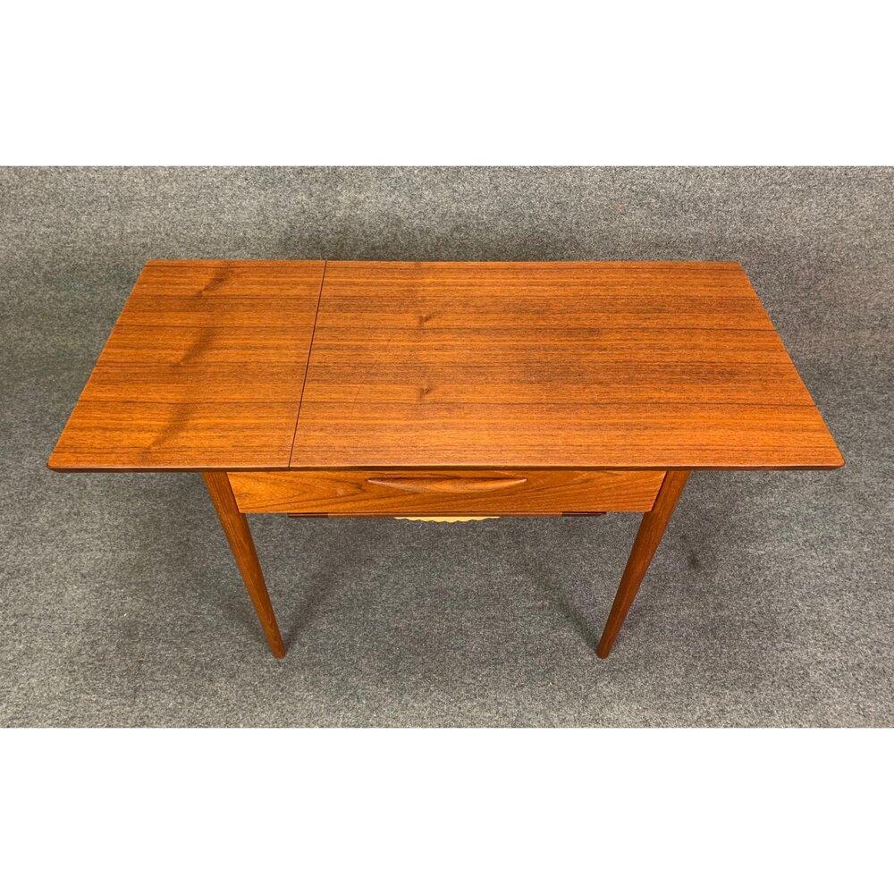 Vintage Danish Mid Century Modern Teak Sewing Drop Leaf End Table Aymerick Modern