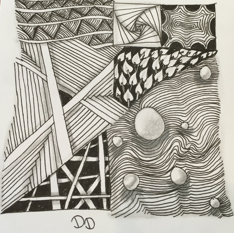 """Adventures in Shading- Zentangle Intermediate class - Continue your journey of the Zentangle method of art with this intermediate level workshop with an emphasis on shading! Shading can add a dramatic dimension to any tangle. We will explore several tangles with different types of shading.Please note a Zentangle®️ Introduction Workshop is a pre-requisite before taking this class.$30 Class Fee includes supplies needed for the class and to take home with you to continue your tangling journey.Please inquire about group discounts, non-profit rates, & """"At Your Place"""" classes/parties."""