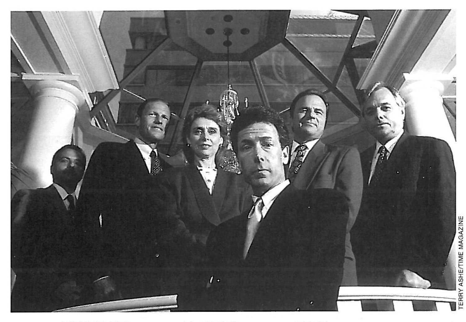 The lead attorneys general strike a stern pose for a  Time  magazine phtographer. From left to right: Dennis Vacco, Dick Blumenthal, Christine Gregoire, Mike Moore, Grant Woods, and Bob Butterworth. *