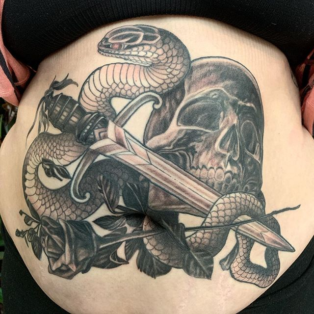 Thankful for your continuous support and dedication @ames827 . . . #tattoo #tattooing #tattoos #tattooart #tattooartist #blackandgrey #blackandgreytattoo #realism #neotraditionaltattoo #neotraditional #skulltattoo #snaketattoo #minneapolis #mpls #mntattooers #stippling #leviticustattoo