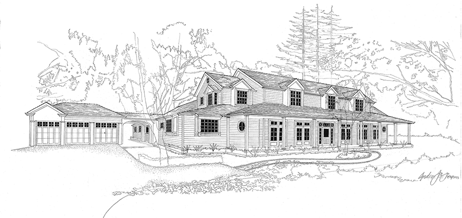 Design sketches from Young & Borlik can help you visualize your new home before construction begins.