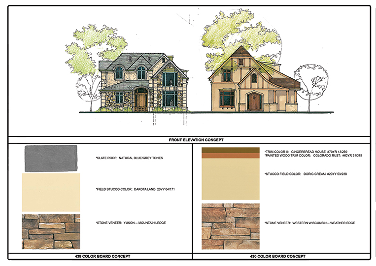 Color boards showing the exterior color design for two homes.