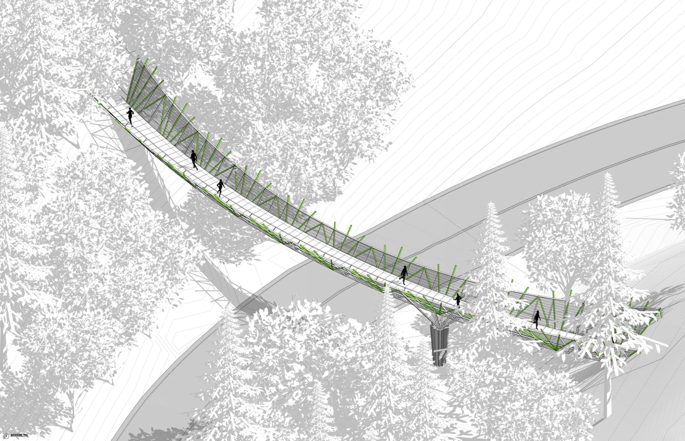 Designed by Ed Carpenter, a Pacific Northwest artist specializing in large-scale public installations, the Footbridge will mirror the natural elements around it, both blending in and connecting to its surroundings.
