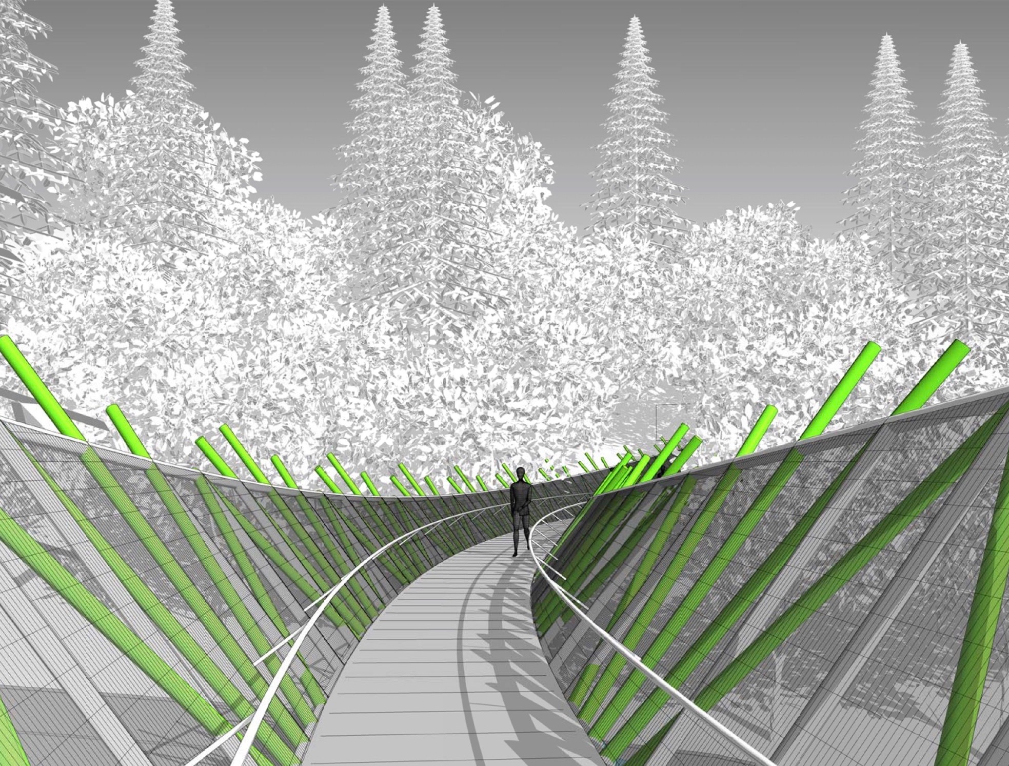 First person perspective of the proposed footbridge design.