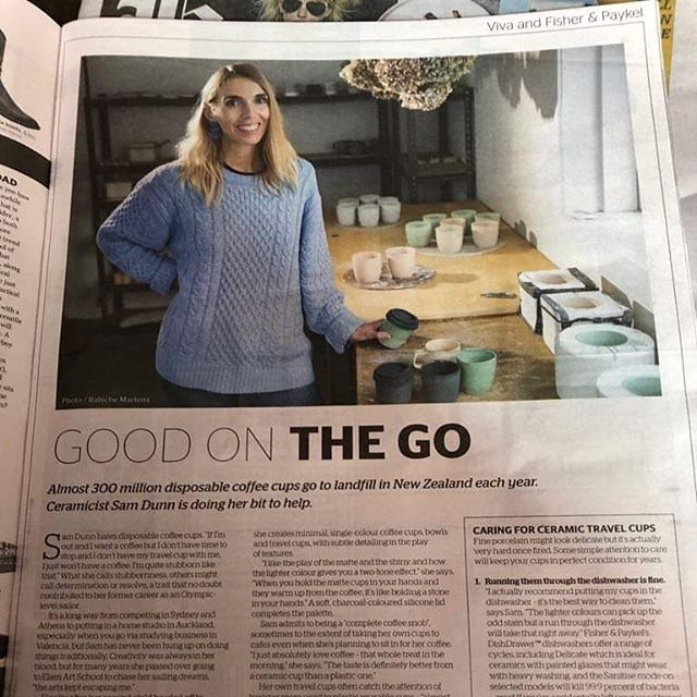 Proud moment to be featured in Viva today 😁🙈💙 _ _ _ _ #nzviva #reuse #reuseable #savetheplanet #porcelain #slipcast #travelcup #handmade #nzmade