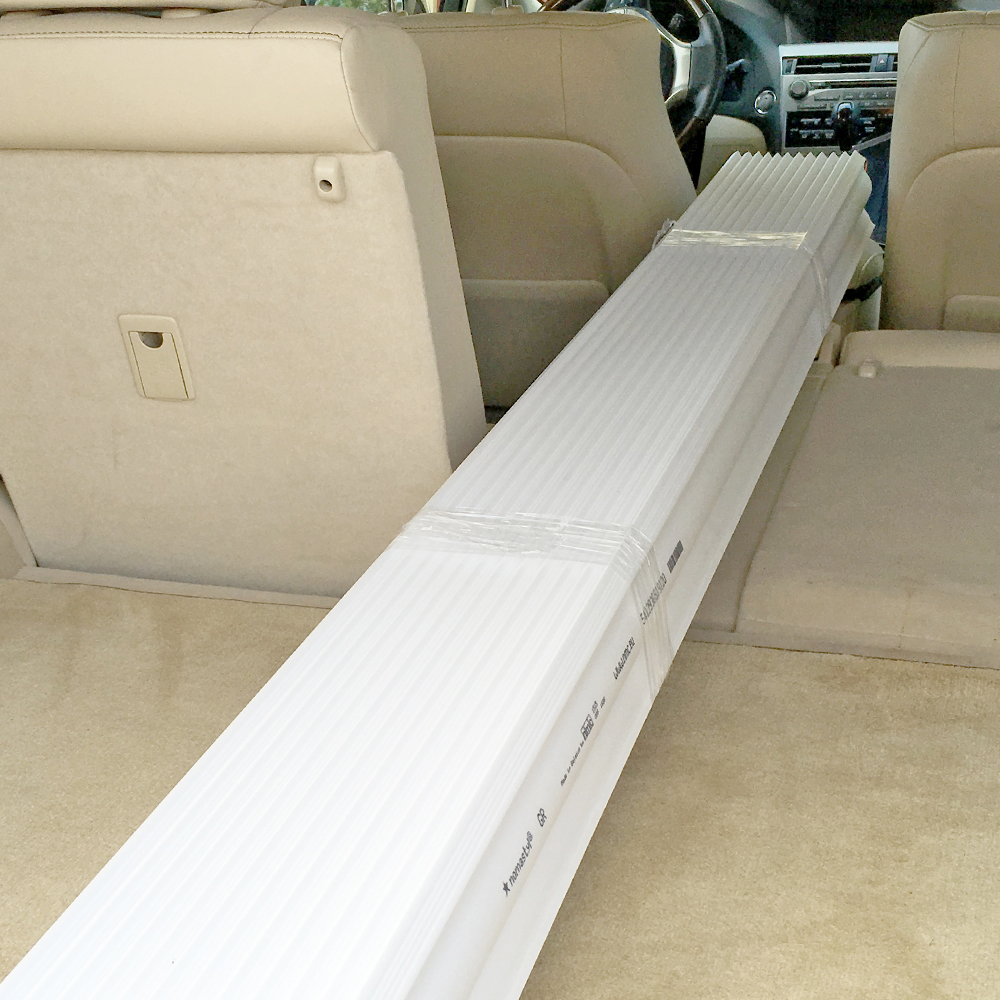 6.5 foot pieces can be transported in any average sedan.
