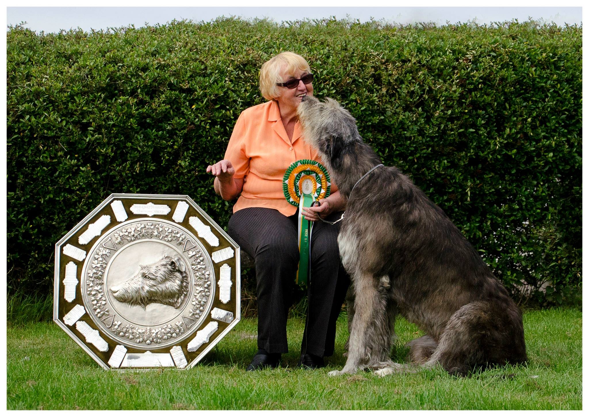 CH. Nellwyns Miss Pollyanna and Kathy - with the Graham Shield for winning Best in Show at the Irish Wolfhound Club Championship Show