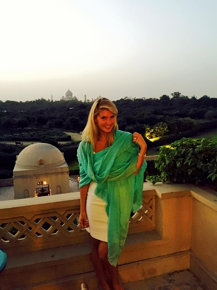 Wearing a dress and a silk pashmina for dinner at the Oberoi in Agra