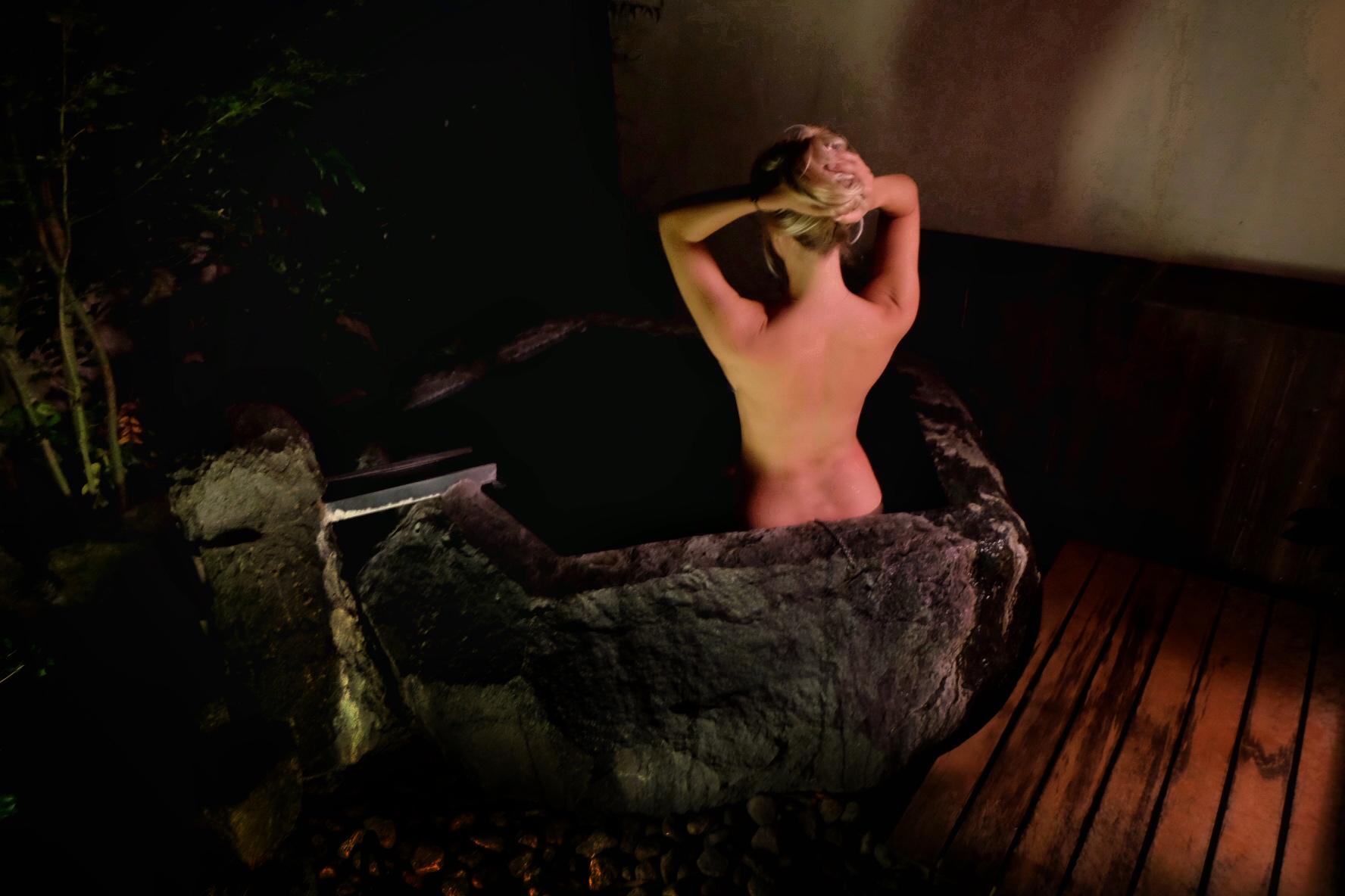 Bathing in the hot springs in Hakone