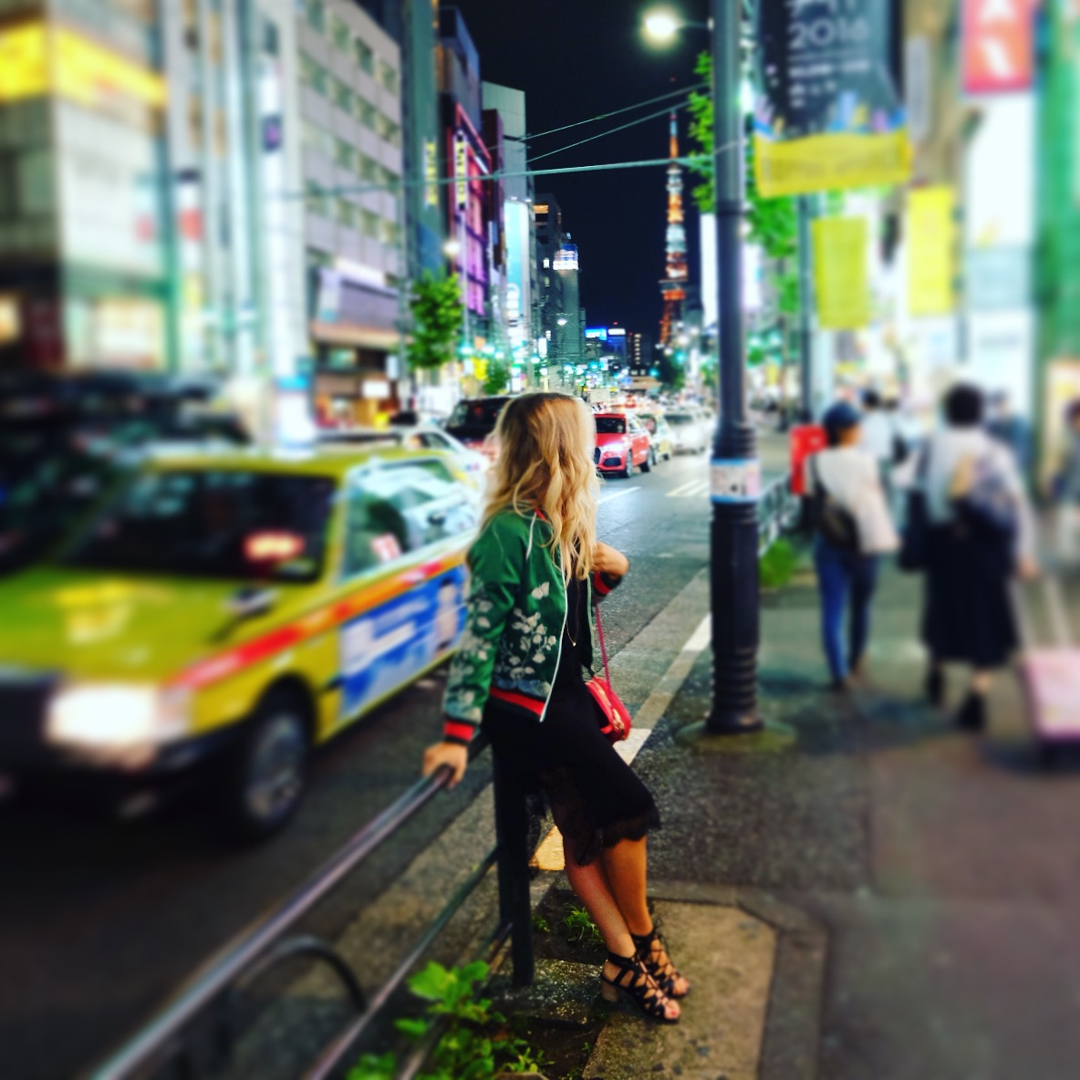 The neon lights of Tokyo at night