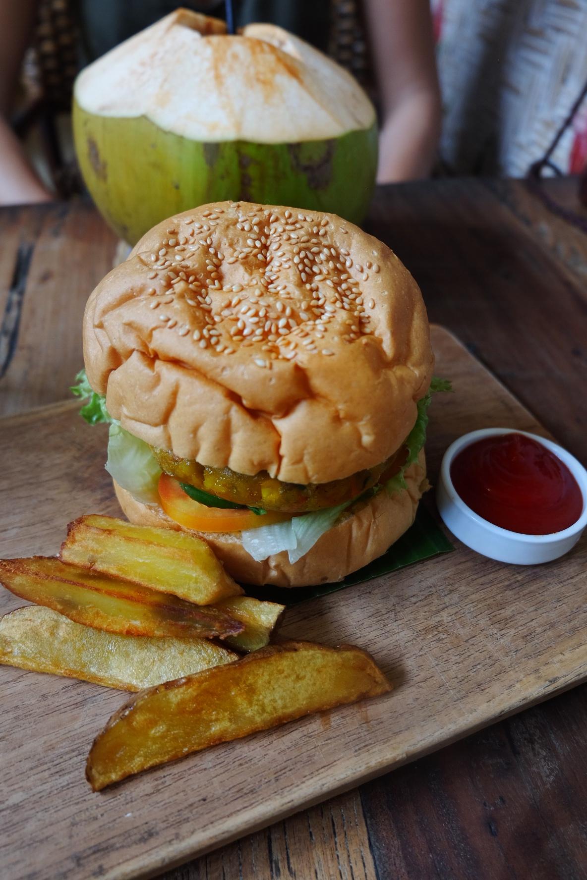 Pumpkin Veggie Burger at Art Kaffe, Ubud