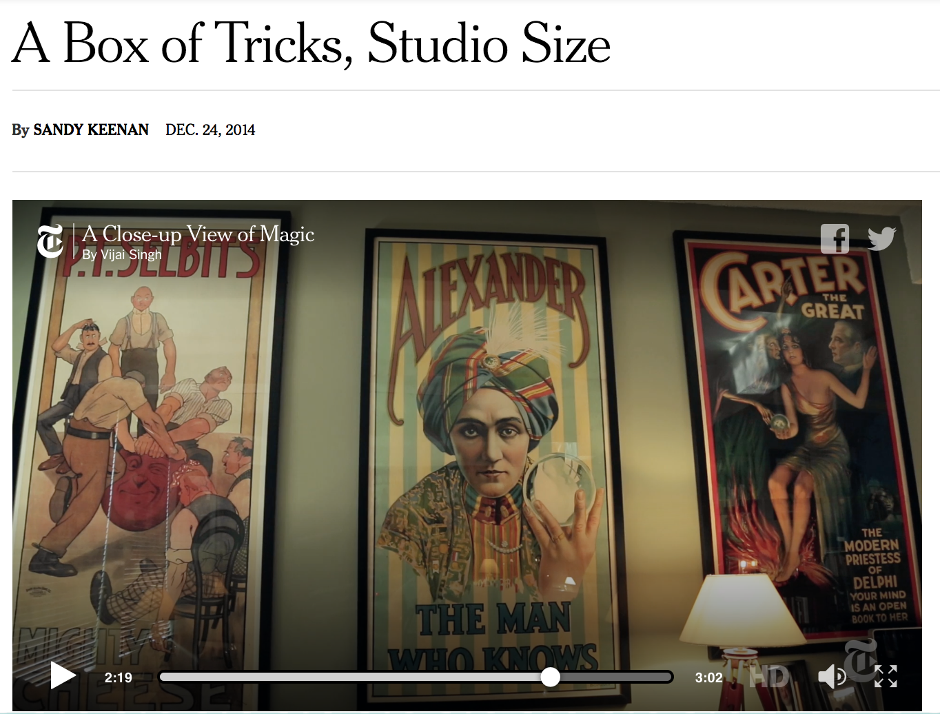 A Box of Tricks, Studio Size   from The New York Times December 2014