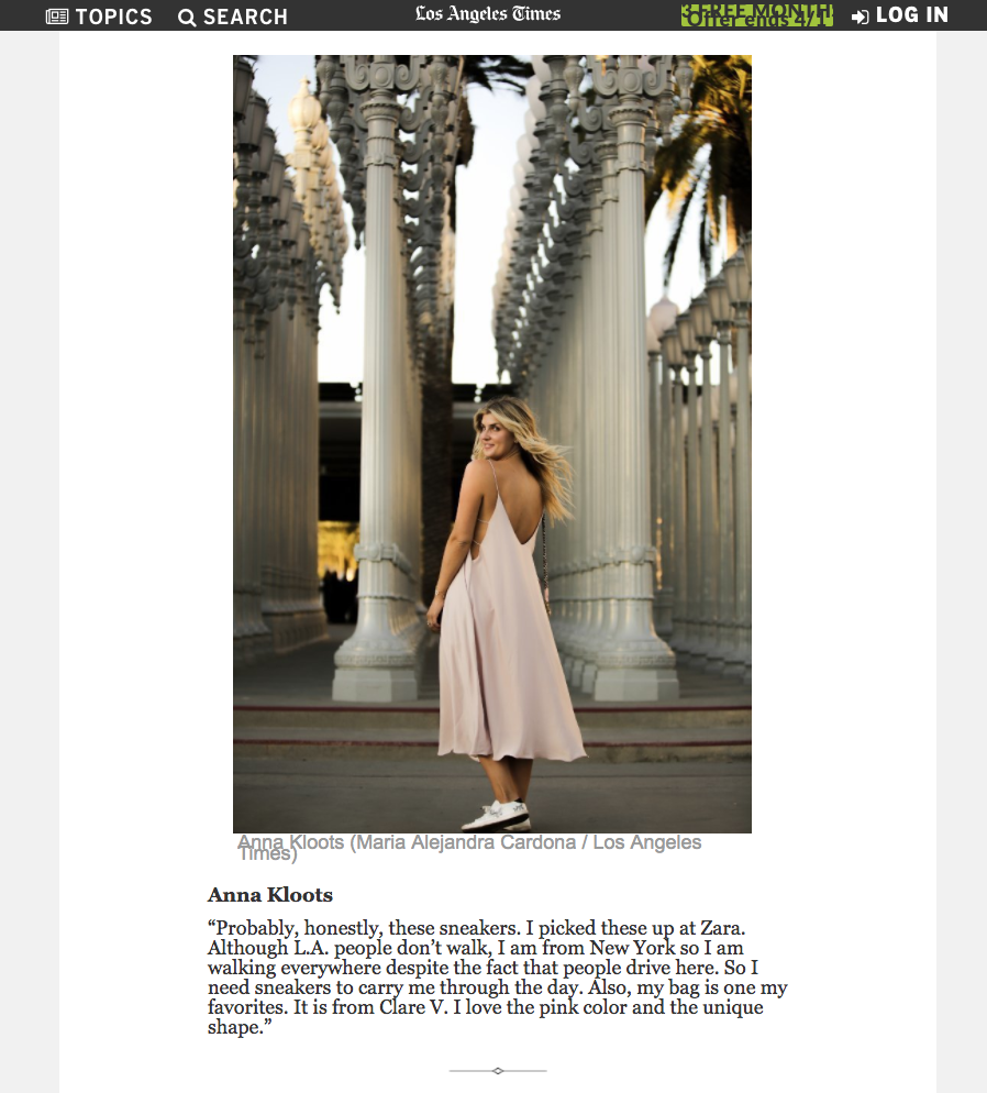 """L.A. Street Style: Fashion Moments at LACMA """"Urban Light"""" Installation   from L.A. Times March 2018"""