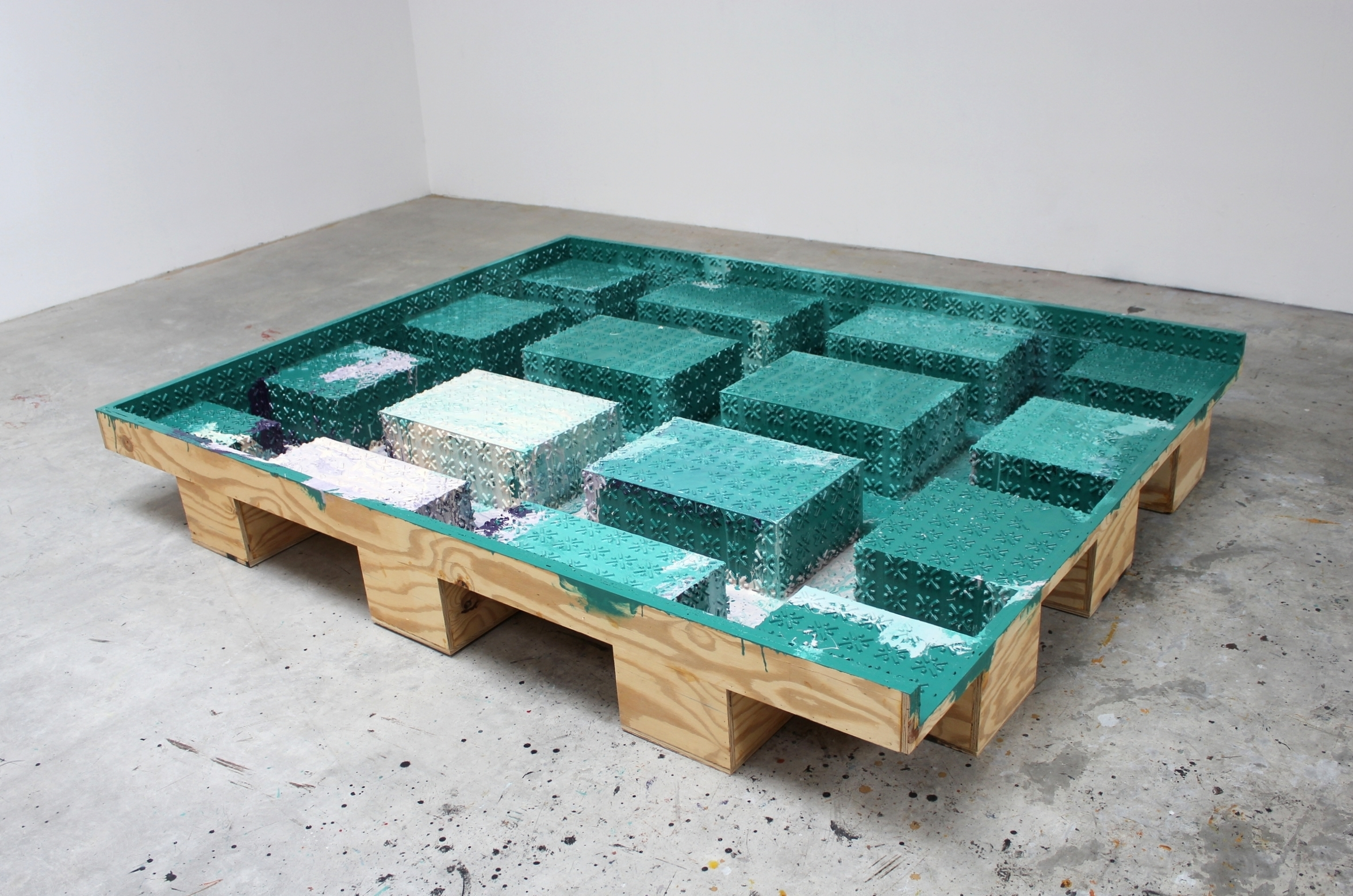 Low Container (Teal Green) 2013 12.25 x 76.5 x 96.5 inches