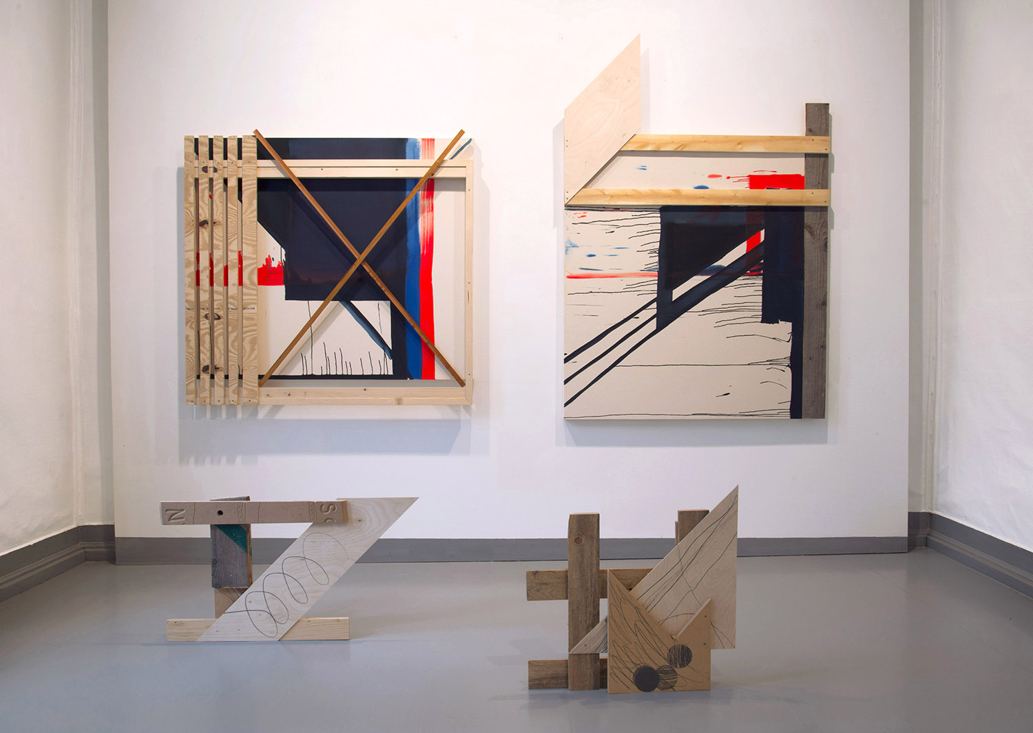 Installation photo from the duo exhibition  Logg  with LIne Anda Dalmar, Galleri Langegården, 2014 2013 Acryllic on raw canvas and wood, pencil on wood objects