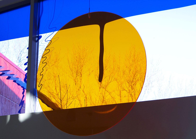 Vannspill 2013 Digital tegning, UV-blekk på film og farget pleksiglass
