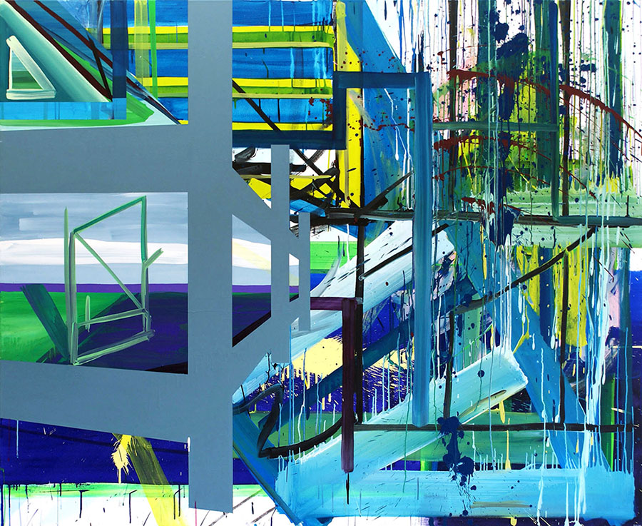 Structures by The Sea 2011 Acrylic on canvas 169 x 205 cm