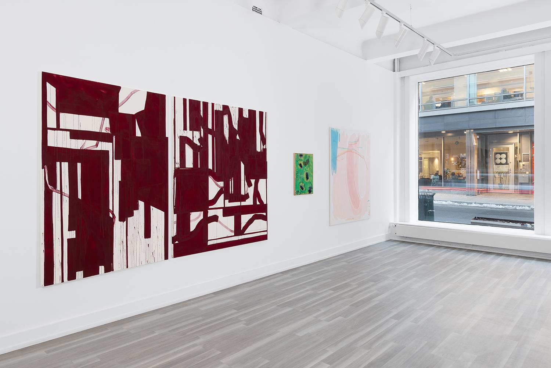Installation photo from group exhibition Olje og Begjær, QB Gallery og Blomqvist, 2019  (L: Mona Orstad Hansen, Mickael Marman og Liv Tandrevold Eriksen) Photo: Istvan Virag