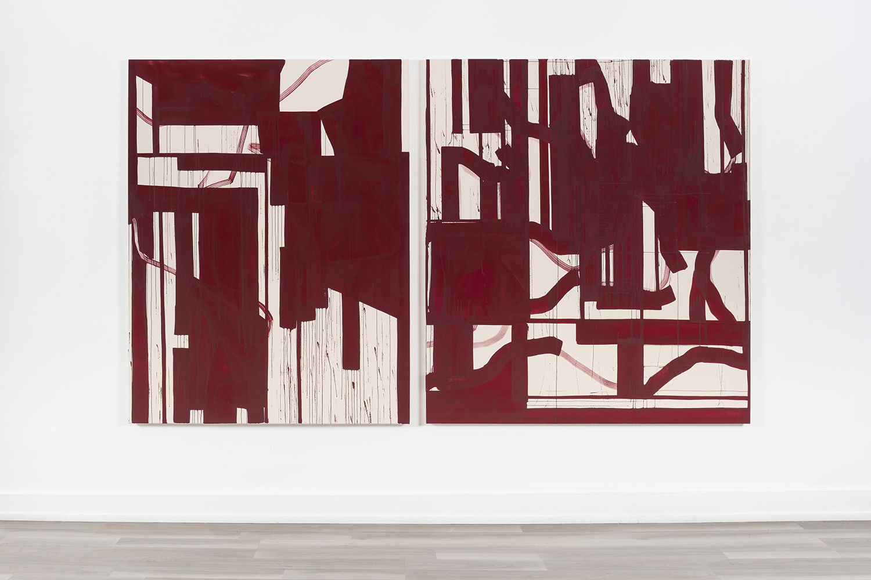 Diptych, 2018 Acrylic on raw canvas, 169 x 280 cm Photo: Istvan Virag