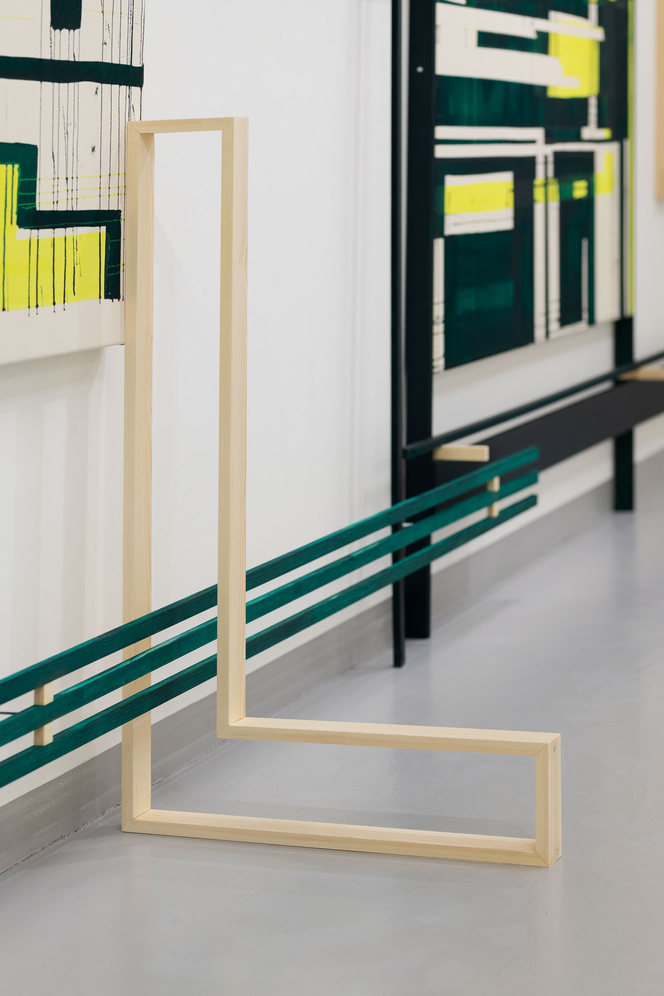 """Skisser til veggarbeid"" Installation photos from solo exhibition, Sandnes Kunstforening 2019 Acrylic on raw canvas, wood and MDF approx. 700 cm x 250 cm Photos: Erik Sæter Jørgensen"