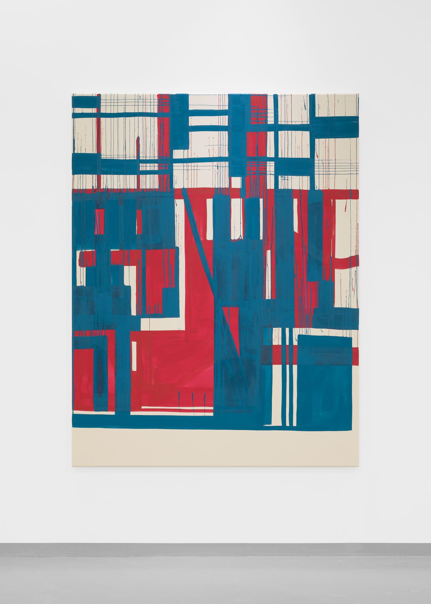 En tematisk vinkling er å ta utgangspunkt i arkitekturen, II   2019 Acrylic on raw canvas 169 x 130 cm Photo: Erik Sæter Jørgensen