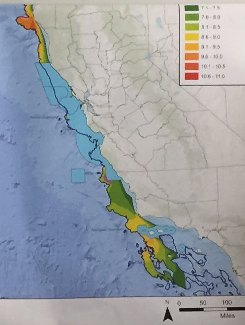 BOEM's map of potential wind power with marine sanctuary zones in turquoise. The first area of commercial interest is the SW corner of the Monterey Bay Marine Sanctuary where the orange hotspot is.