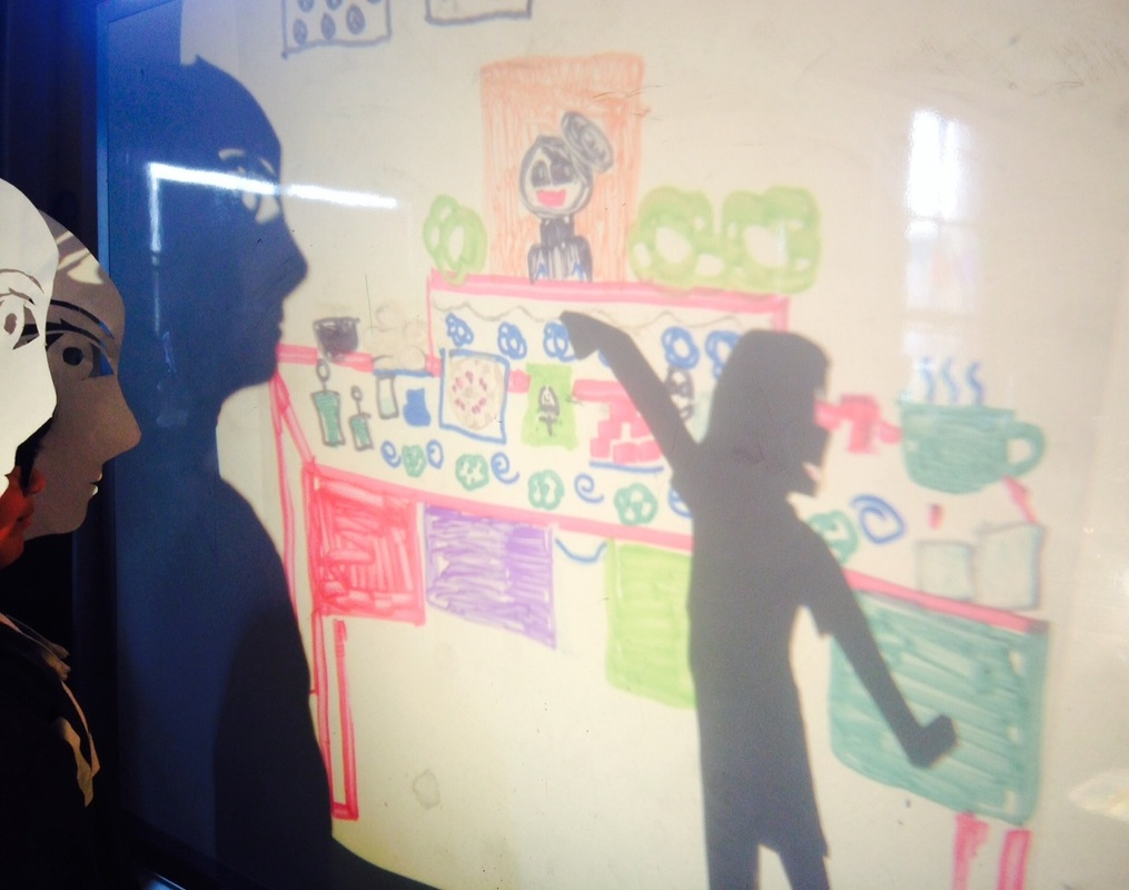 Everett MS student shadow play rehearsal