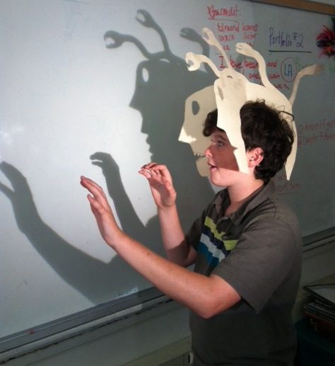 Student with shadow mask