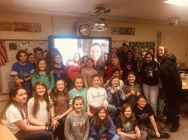 """Director Sarah Moshman Skyping in with Mrs. Hodson's 5th grade class in Indianapolis, Indiana after watching The Empowerment Project! The girls answered What would you do if you weren't afraid to fail? 🙋🏽♀️ """"I would go to the planet Saturn and slide on the rings."""" 💫 You can bring the film to your community by going to Empowermentproject.com!"""