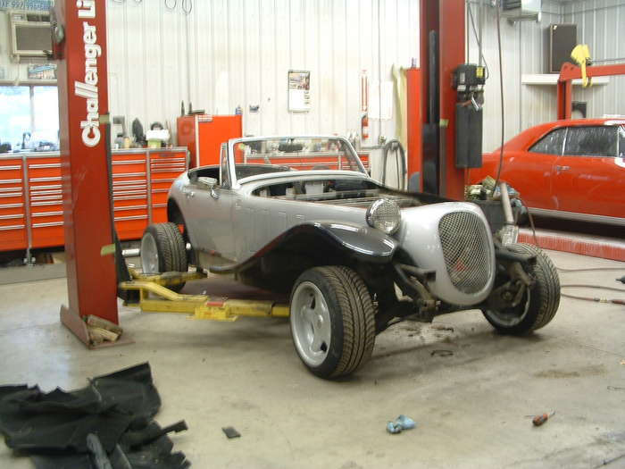 Here you can see the car as it being dismantled