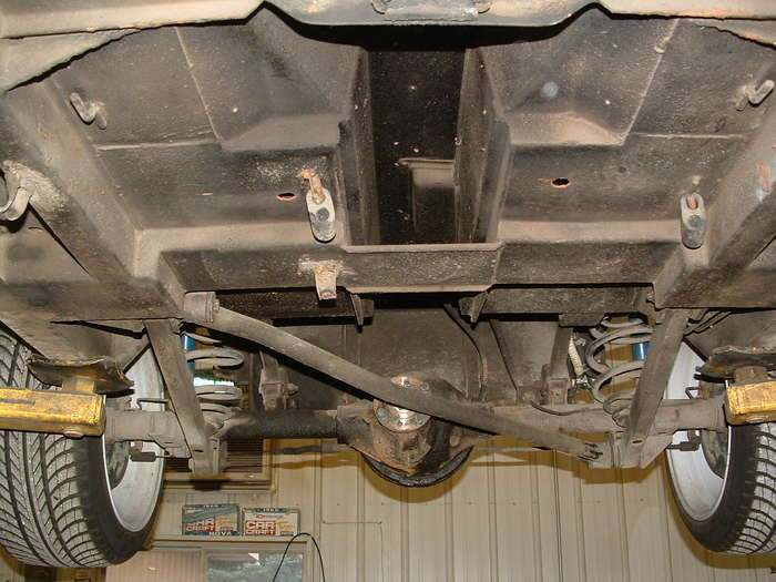 This shows the frame of the car it is way to thin to take the new HP we will have to reinforce some areas and make a new transmission mount and motor mounts.