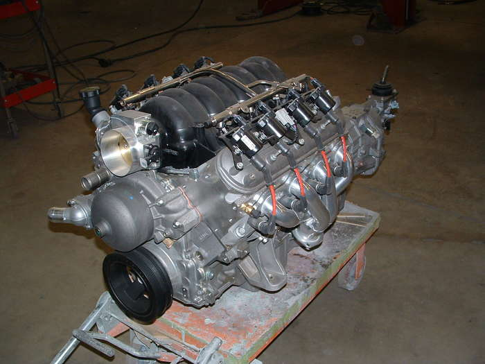 LS3 with the transmission installed and headers installed, and the new motor mounts