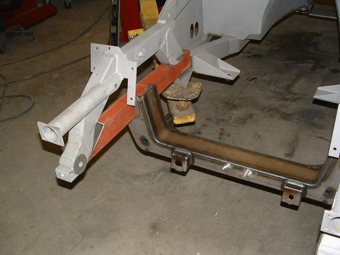 Note the hole in the new front frame rail this will have to be boxed in for appearance purposes