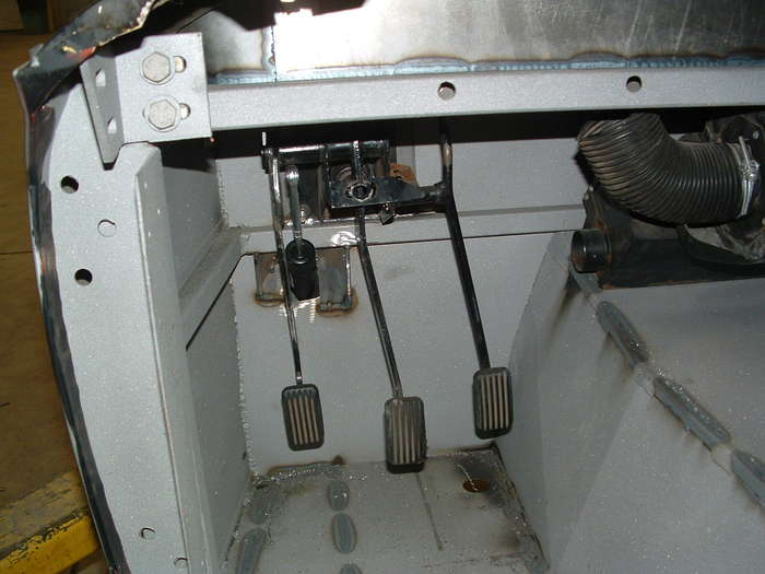 Here we have modified the pedal assembly to run the new clutch master cylinder