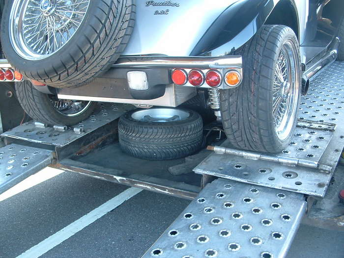 Here you can see the old wheels loaded in the transporter I hope they make the trip all the way home and don't get stolen.