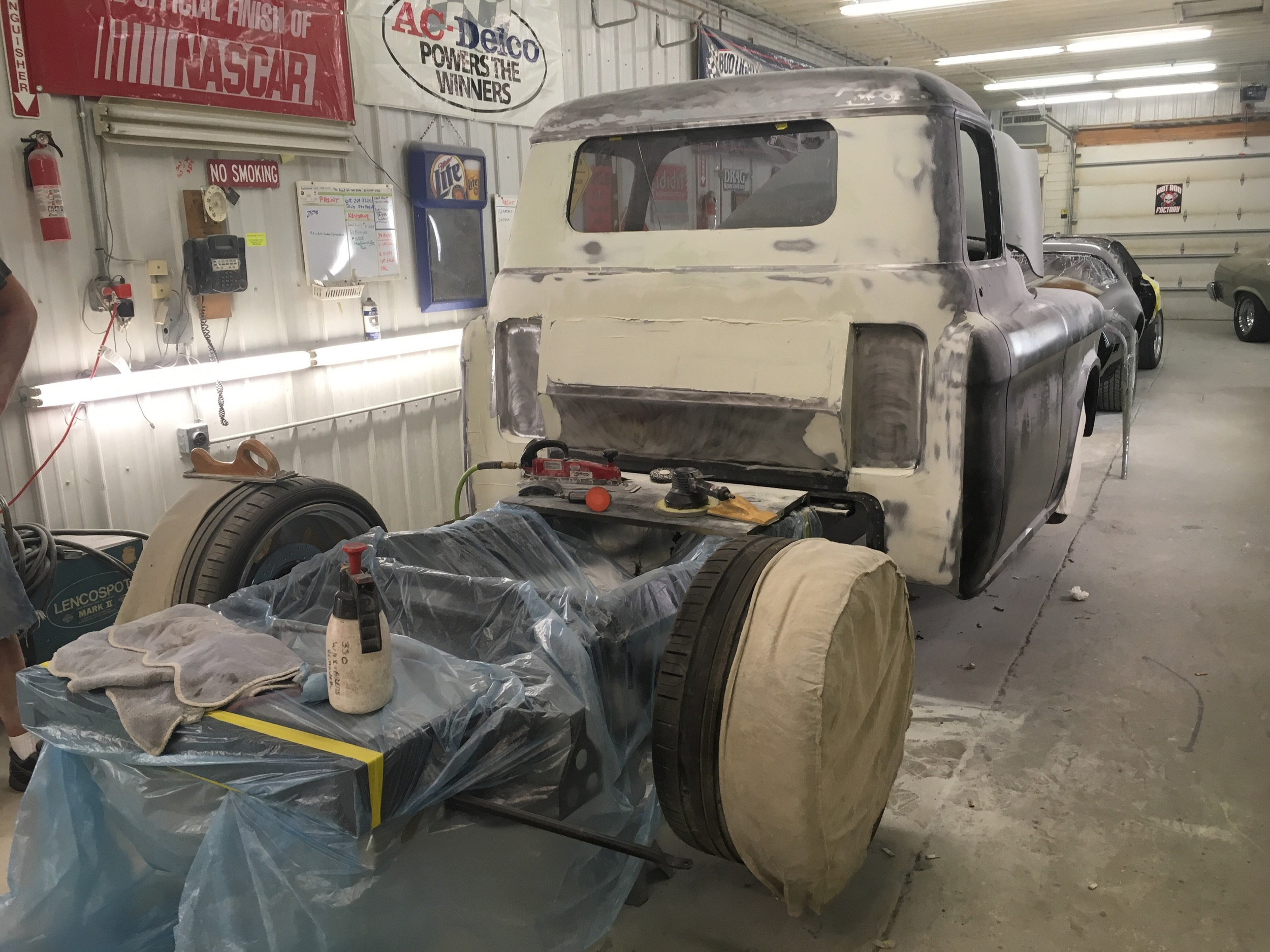 Starting body work process on 56 Chevy pickup truck cab.