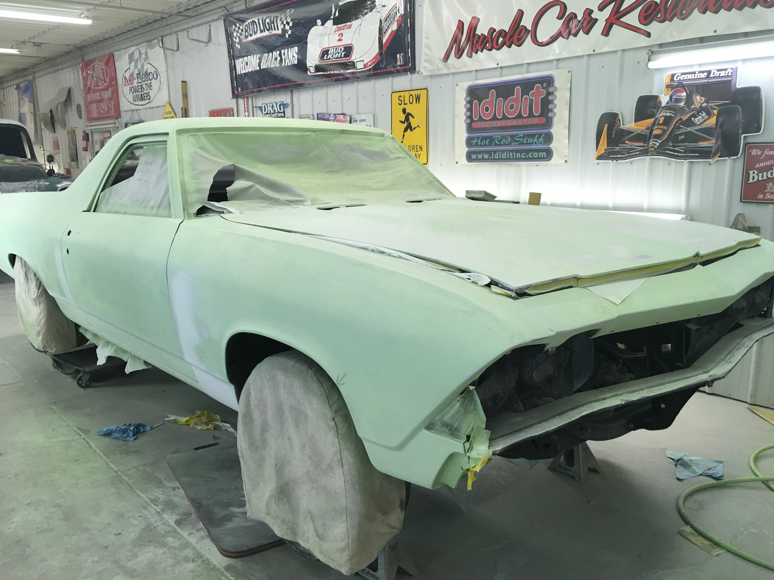 Blocking and priming, getting ready for next coat, 1968 El Camino