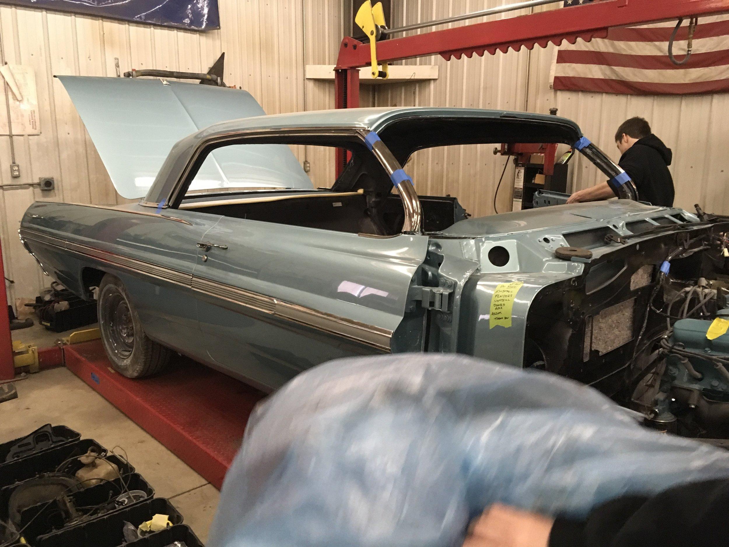 1962 Bonneville trim going on.